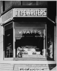 Detail Study Stores in Copley Square, Wyatt's Window Vintage Photographs, Vintage Photos, Copley Square, Antique Typewriter, Portable Typewriter, Store Windows, Vintage Office, Vintage Typewriters, Vintage Signs