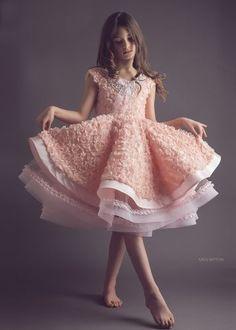 Peach rosette flower girl dress - blush dress - modern wedding - horsehair braid  // DeuxParDeux.com // Deux Par Deux // kids clothes // kid style // fashion for kids