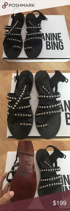 PRICE⬇️ NEW Anine Bing Silver Studded Sandals NEW w/ Box NEVER WORN (Price is pretty firm since I lowered it by $130) Anine Bing  Shoes Sandals