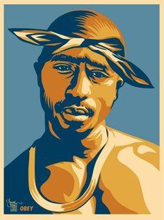 """Tupac Red"" by Shepard Fairey 2004 Arte Do Hip Hop, Hip Hop Art, Black Panthers, Gangsters, Shepard Fairey Art, Tupac Art, Rapper Art, Stencil Art, Stencils"
