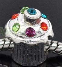3pc Tibetan Silver & Rhinestone Birthday Cupcake Spacer Bead/Charm fits European bracelet~Free S/H