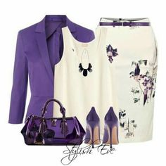 Fashion Style Combination in Purple, lavender, and off-white.