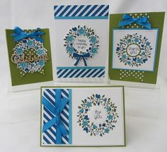 set of cards from Stamping Moments: Circle Of Spring Stamp Class ... great basic designs ... like the olive and blue coloring of the wreathes ... Stampin' Up!