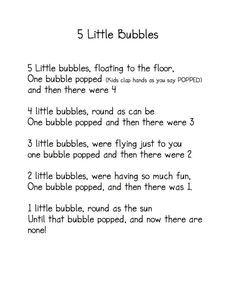 5 Little Bubbles Poem / Fingerplay (from Kindergarten Nana) Bubble Pop Kids, Bubble Fun, Preschool Fingerplays, Preschool Kindergarten, Preschool Learning, Learn Singing, Singing Lessons, Singing Tips, Summer Poems