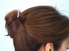 An easy updo using a pin or chopstick