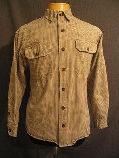 1930's men's work shirt. Black stripe. Cotton Sz Med.