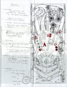 "Amazing sketches, notes, production drawings, and photographs of the development of ""Monster Bash"", a 1998 pinball machine designed by Georg..."