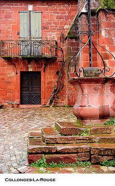 medieval well, Collonges-la-Rouge, Limousin, France