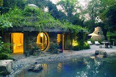 Sur cette photo la nature reprend ces droits : piscine naturelle, végétation et maison se marient dans la plus parfaite harmonie.