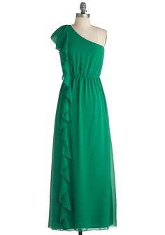 By the Fountain Dress - Green, Solid, Ruffles, Party, Maxi, One Shoulder, Long, Formal, Wedding $49.99