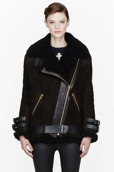 ACNE STUDIOS Chocolate brown Shearling belted Velocite jacket