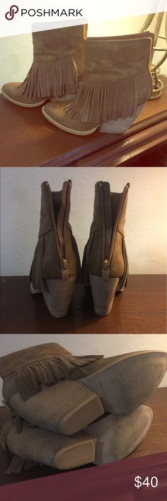 Super Cute Fringe Booties! Great color and condition. Heel has indention on the inside of one of the heel. Great fringe and zips up to look great with dresses, tights or skinny jeans! very volatile Shoes Ankle Boots & Booties