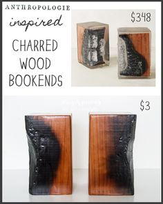 DIY {Anthropologie Knock-Off} Inspired Charred Wood Bookends | Not Just A Housewife (FOR) Home Right