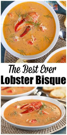 Easy Lobster Bisque Recipe - The Suburban Soapbox- Quick, easy and affordable Lobster Bisque. Restaurant quality seafood dinner without the restaurant prices. So simple to make in less than an hour. Easy Soup Recipes, Fish Recipes, Seafood Recipes, Cooking Recipes, Dinner Recipes, Healthy Recipes, Seafood Chili Recipe, Thai Recipes, Kitchen Recipes