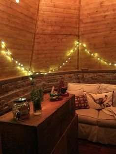 Cozy present wrapping room on day of Christmas tour