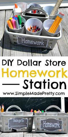 Get ready for a clutter-free school year with this simple Dollar Store portable homework station and our free printable label! Back to school, homework station, back to school DIY, back to school ideas - Diy Home Decor Dollar Store Homework Caddy, Kids Homework Station, Homework Ideas, Homework Table, Homework Center, Homework Club, Kid Desk, Dollar Store Crafts, Dollar Stores