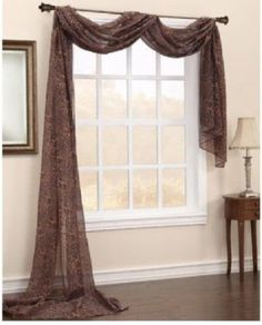 Looking For The Perfect Brown Leopard Printed Window Scarf Voile Sheer  Window Valance New 37