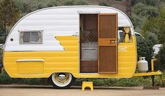 On a roll: Vintage trailers - Larry and Patsy Hill of Albaquerque, New Mexico, started restoring trailers as a hobby before turning it into a business. This yellow and black 1956 Shasta is one of their completed projects.