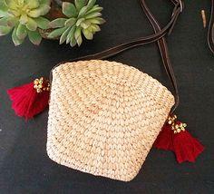 Water Hyacinth Cross Body Bag (Leather) www.rhapsodystore.com.au #fairtrade #shopethical #ethicalfashion