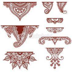 A collection of decorative ornaments - featuring lots of paisley. - QuickDo Henna: Mehndi Ornament, maybe for below the palms, along a diagonal line cutting across the - Mehndi Tattoo, Henna Tattoos, Henna Mehndi, Henna Tattoo Muster, Arte Mehndi, Henna Tattoo Designs, Mehandi Designs, Henna Palm Designs, Henna Tattoo Wrist