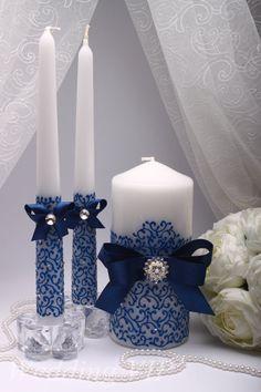Unity candle Blue Unity candle set Wedding unity candle by VIZZARA