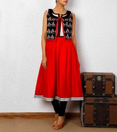 Red & Black Hand Embroidered Silk Vest Tunic