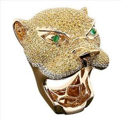 yellow and white diamond panther ring