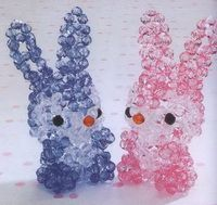 Dolls crystal rabbit ears bright pink, blue and two companions.-Step by step patterns in Thai language but easier to follow