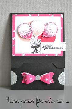 """Carte Pochette Bouquet de ballons """"it's my party"""" Stampin up"""