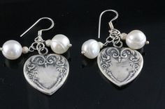 Heart Earrings with Pearls/ Pearl Bridal by AncientSunDesigns