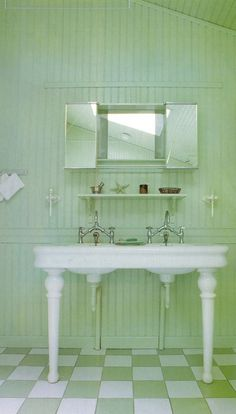 Country style bathroom in a pretty shade of Celery Green