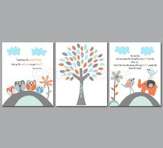 Aqua, grey and coral Nursery Art Print Set, 8x10, Kids room Decor-love tree, owl family, elephant and love birds, flowers, twins, brother. $39.95, via Etsy.