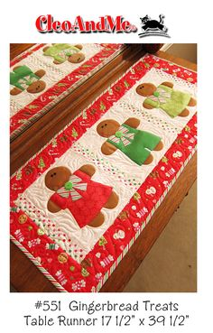 NOT A FINISHED PRODUCT, this listing is for the pattern only.  This pattern will make one table runner as pictured and described below.  Gingerbread Treats the no bake kind are featured on this cute runner. Easy piecing and fusible applique with button embellishments, runner measures 17-1/2 x 39-1/2. Perfect for your Christmas kitchen!  This pattern is new and unused, designed and copyrighted by Barbie Jo Paquin for Cleo and Me Patterns.  Pattern ships 1st class mail to your Etsy address…
