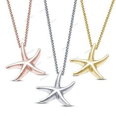 "Free Pouch 925 Silver Without Stone Starfish Charm Pendant Womens With 18"" Chain #giftjewelry22 #Pendant"