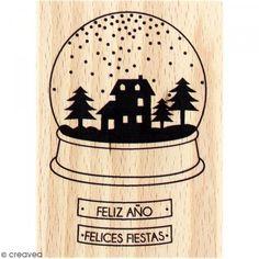 Sello de madera Felices fiestas - Fotografía n°1