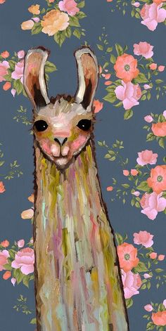 'Baby Llama - Floral' by Eli Halpin Print of Painting on Canvas