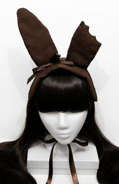 Bitten Chocolate Easter Bunny Gothic and Lolita Bonnet Headdress Kawaii Fashion, Lolita Fashion, Estilo Lolita, Chocolate Easter Bunny, Bunny Costume, Barbie, Easter Celebration, Little Doll, Headdress