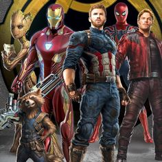 It's finally happening! New promotional art from Avengers: Infinity War has surfaced online featuring a sweet new look at Spider-Man, Captain America, & Iron Man teaming with Star-Lord, Rocket, and Groot! Captain Marvel, Captain America, Marvel Vs, Marvel Heroes, Mundo Marvel, Dc Movies, Comic Movies, Marvel Movies, Superhero Movies