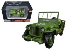 US Army WWII Jeep Vehicle Green 1/18 Diecast Model Car by American Diorama - Brand new 1:18 scale diecast model of US Army WWII Jeep Vehicle Green die cast model car by American Diorama. Has steerable wheels. Brand new box. Rubber tires. Folding windshield. Made of diecast with some plastic parts. Detailed interior, exterior, engine compartment. Dimensions approximately L-7.25, W-4, H-3.5 inches.-Weight: 4. Height: 8. Width: 15. Box Weight: 4. Box Width: 15. Box Height: 8. Box Depth: 7
