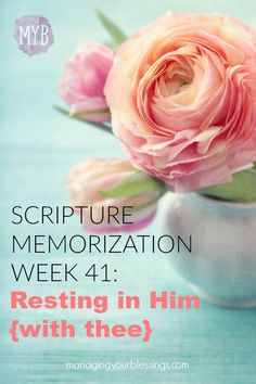 This week's scripture memorization verse deals with learning how to rest in Christ. Come on this 52-week journey with as we memorize God's Word! :: managingyourblessings.com