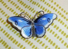Vintage Norway Enamel Butterfly Pin Blue & White Enamel