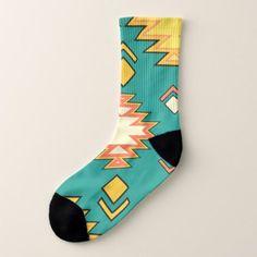 Golden Green Traditional Aztec Pattern Socks - patterns pattern special unique design gift idea diy