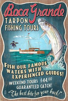 Boca Grande, Florida - Tarpon Fishing Tours Vintage Sign - Lantern Press Artwork