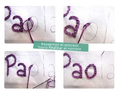 Embroider a name by hand DIY- Step by step tutorial - sewes Art Therapy Projects, Diy Step By Step, Couture, Journal Inspiration, Free Food, Diy And Crafts, Projects To Try, Place Card Holders, Hands