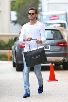 Scott Disick is seen leaving Barneys New York in Beverly Hills after shopping with friends.