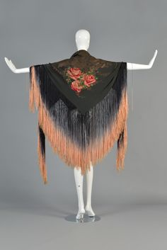 1920s Silk Lamé Floral Piano Shawl with Fringe 9