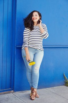 Tanesha Awasthi (also known as Girl With Curves) stars in Old Navy denim campaign wearing a stripe tee and skinny jeans in San Francisco, CA.