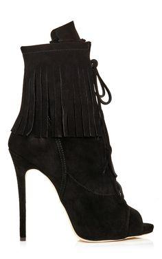 Black Fringed Suede Peeptoe Boots by Giuseppe Zanotti Now Available on Moda Operandi