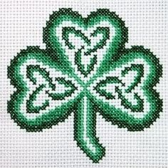 shamrock by claddagh cross stitch free chart for cross stitch..