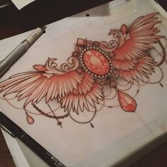 For Kimberley  #drawing #jewellerytattoo #ntgallery #neotraditional #art #wings #tattooworkers #tattooartist #ladytattooers #uktattoo #plymouth #artnerd #instagood